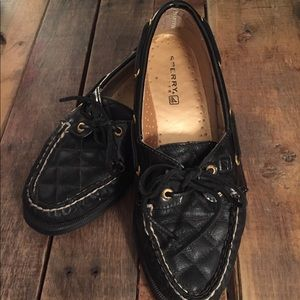 Sperry Black Leather Quilted Deck Shoes